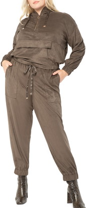 ELOQUII Faux Suede Quarter Zip Hooded Jacket