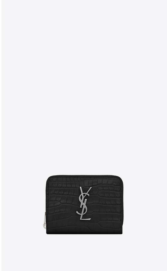 a211fc636d Monogram Compact Zip Around Wallet In Crocodile Embossed Shiny Leather