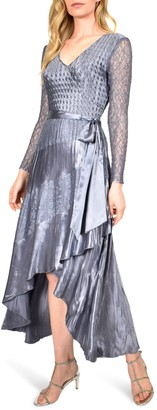 Komarov Long Sleeve Charmeuse & Chiffon Maxi Dress