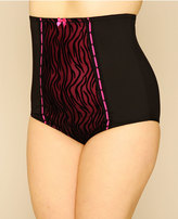 Yours Clothing Magenta & Black Zebra Print High Waisted Clincher Brief