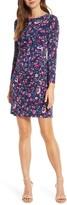 Eliza J Long Sleeve Floral Faux Wrap Dress