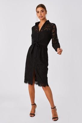 Paper Dolls Grosvenor Black Lace Midi Shirt Dress