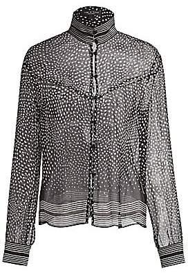 ffce44c3d1850d Rag & Bone Women's Libby Sheer Silk Polka Dot Blouse