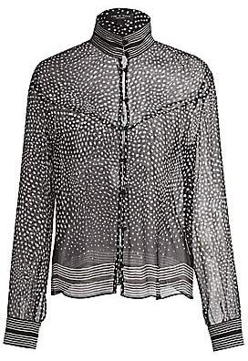Rag & Bone Women's Libby Sheer Silk Polka Dot Blouse