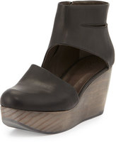 Coclico Hop Leather Wedge Clog, Black
