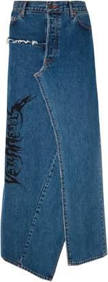 Vetements Distressed Printed Denim Maxi Skirt