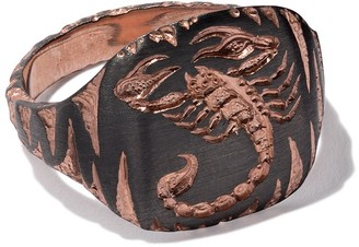 Castro Smith 9kt rose gold scorpion engraved ring
