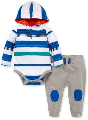 Burt's Bees Multi Stripe Organic Baby Hooded Bodysuit and French Terry Jogger Set