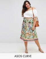 Asos Pleated Midi Skirt In Postcard Print