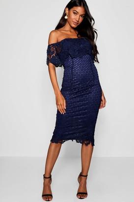 boohoo Boutique Lace Off Shoulder Midi Dress