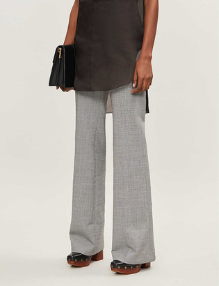 Theory Demetria checked wide-leg woven trousers