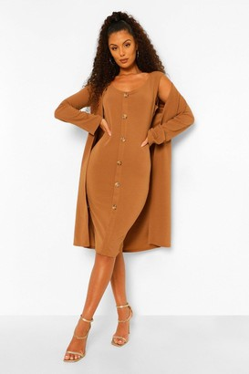 boohoo Collarless Duster and Button Through Midi Dress Set