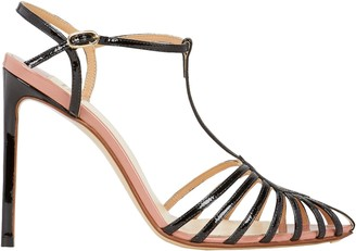 Francesco Russo T-Strap Leather Stiletto Sandals