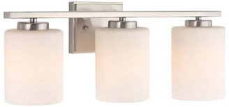Belvedere Bath 3-Bulb Vanity Light Bright Satin Nickel and White Glass Sconce Shades