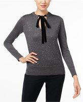 MICHAEL Michael Kors Velvet-Tie Keyhole Metallic Sweater