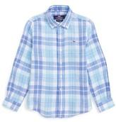 Vineyard Vines Toddler Boy's Upper Bluff Plaid Linen Shirt