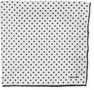Tom Ford Men's Dotted Silk Pocket Square, White/Black