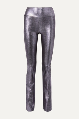Sprwmn Metallic Leather Flared Pants - Silver