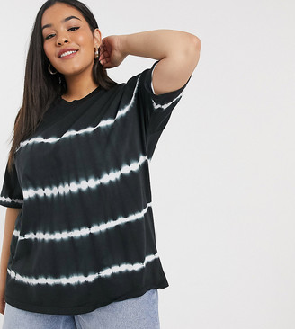 ASOS DESIGN Curve oversized t-shirt in tie dye stripe