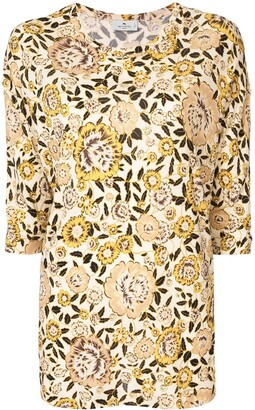 Etro Floral Print Short-Sleeve Top