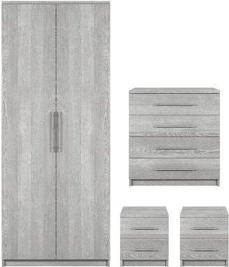 Home Essentials -Prague 4-Piece Package - 2-Door Wardrobe, 4-Drawer Chest and 2 Bedside Cabinets