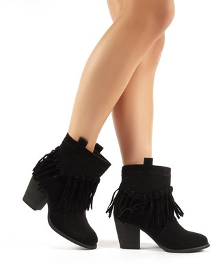 Public Desire Uk Jossa Faux Suede Fringed Heeled Western Ankle Boots