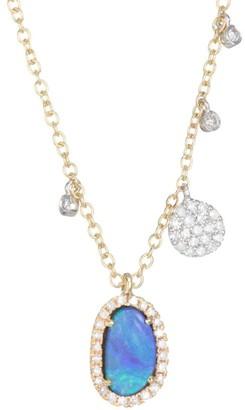 Meira T Diamond, Opal & 14K White & Yellow Gold Charm Necklace