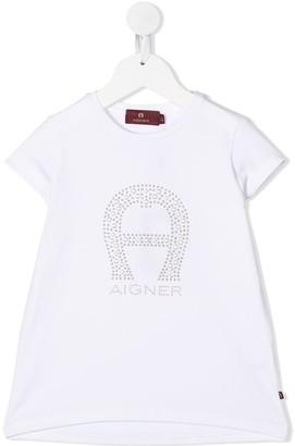 Aigner Kids studded logo T-shirt