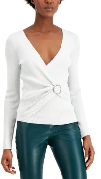 INC International Concepts Inc Lurex V-Neck Buckle Sweater, Created for Macy's