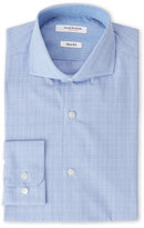 Isaac Mizrahi Blue Glen Plaid Slim Fit Dress Shirt