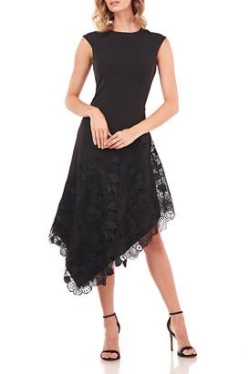 Kay Unger New York Emily Sleeveless Asymmetrical Dress w/ Lace Applique