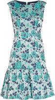 Gina Bacconi Navy green floral jacquard dress