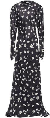 Paco Rabanne Floral-print Satin Maxi Dress