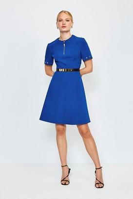 Karen Millen Belted Eyelet Detail Short Sleeve A-Line Dress
