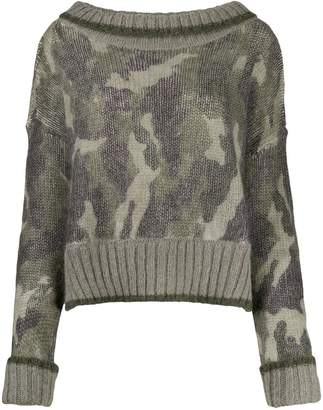 Twin-Set oversized camouflage jumper