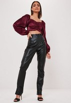 Missguided Plum Satin Sweetheart Neck Ruched Crop Top