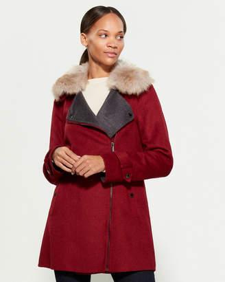MICHAEL Michael Kors Faux Fur-Trimmed Asymmetrical Coat