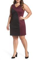 Ellen Tracy Plus Size Women's Colorblock Scuba Sheath Dress