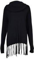 MICHAEL Michael Kors Women's Cowl Neck Fringe Sweater (M, Black)