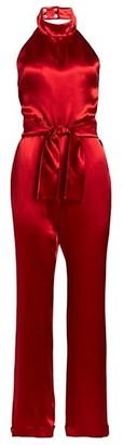 Carolina Ritzler Satin Halter Tie-Waist Jumpsuit