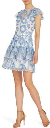 ML Monique Lhuillier Floral Lace Cocktail Dress
