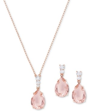 """Swarovski Crystal and Stone Pendant Necklace & Drop Earrings Set, 14-4/5"""" + 3"""" extender"""