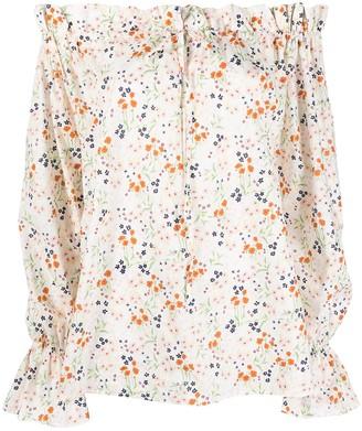 L'Autre Chose Floral Print Off-Shoulder Blouse