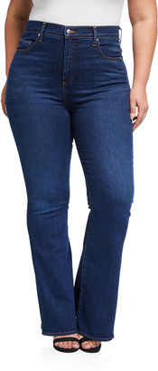 Veronica Beard Plus Size Beverly High-Rise Skinny Flare Jeans - Extended Sizes