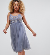 New Look Petite petite embroidered tuelle dress