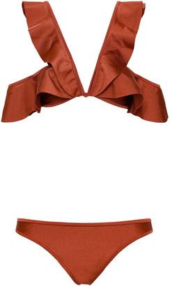 Zimmermann Tali Cold-shoulder Ruffled Bikini