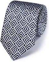 Charles Tyrwhitt White and Navy Silk English Luxury End-On-End Tie Size OSFA