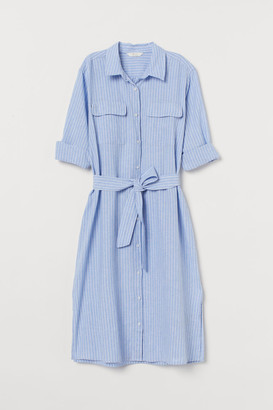 H&M Linen-blend Shirt Dress - Blue