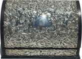 One Kings Lane Vintage Silver/Leather Silk Lined Stationary Box
