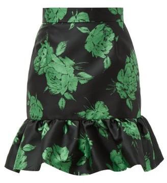 MSGM Floral Jacquard Ruffle Hem Mini Skirt - Womens - Black Multi
